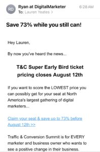 promotion email example